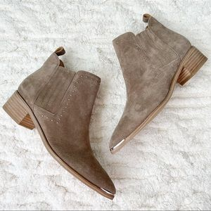 MARC FISHER Studded Taupe Yami Chelsea Booties